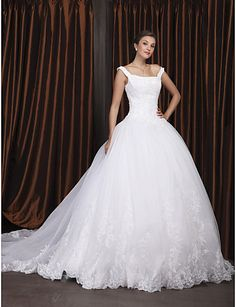Ball Gown Off-the-shoulder Chapel Train Satin Organza Wedding Dress - A Big Yes...I Really Love This Dress..