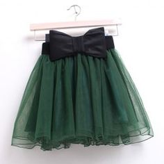 Sweet All-Match Solid Color Voile Splicing Bowknot Women's Ball Gown Skirt