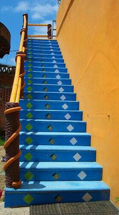 Colorful collection of stairs in Sayulita, Mexico. Steps Design, House Stairs, Mexico, Colorful, Collection, Blue, Home Decor, Stairs, Decoration Home