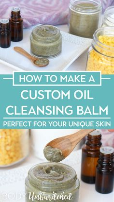 Learn how to make a custom oil cleansing balm perfect for YOUR unique skin. Perfect for the oil cleansing method! Learn how to make a custom oil cleansing balm perfect for YOUR unique skin. Perfect for the oil cleansing method! Homemade Skin Care, Diy Skin Care, Skin Care Tips, Skin Tips, Homemade Beauty, Crema Facial Natural, Natural Skin Care, Natural Beauty, Natural Face Cleanser
