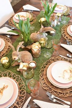 Love this Easter table setting, and especially these bunny plates!!