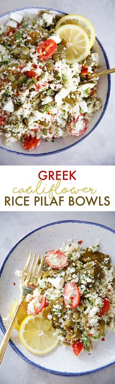 Greek Cauliflower Rice Pilaf Bowls (Low Carb) - Lexi's Clean Kitchen #lowcarb #cauliflower #rice #healthy #greek