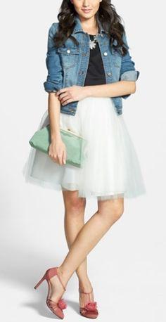 Tulle skirt + jean jacket + sparkle bib necklace + pretty pumps + a pop of mint!