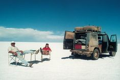 Gunther Holtorf and his wife Christine on a 500,000 mile journey around the world in their G wagon.