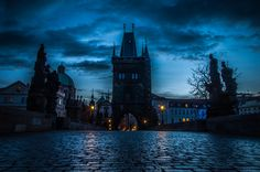 "https://flic.kr/p/AJrE8E | Gloomy Prague, Prague Czech Republic | Follow me on: 500px | Pinterest | Twitter  Press ""L"" for view on black!  The Charles Bridge (Czech: Karlův Most) is a famous historic bridge that crosses the Vltava river in Prague, Czech Republic. Its construction started in 1357 and finished in the beginning of the 15th century.   The bridge normally is swarming with tourists, except for the early hours before and during sunset.  Details Nikon D90 / Nikor 18-105 VR..."