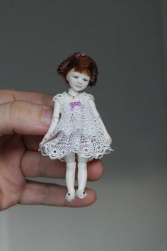 "Miniature Girl 4 year porcelain BJD dollhouse 1:12 by N.Yaskova (3.2"", 8cm)"