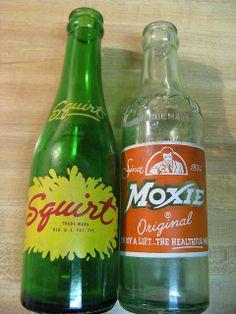 Squirt ( lemon/lime soda ) & Moxie, bottles 50's & 60's