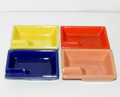 Gladding McBean El Patio individual ashtrays 1930s Coffee Server, Kitchenware, Tableware, Patio Table, Bright Colors, Dinnerware, Pottery, 1930s, California
