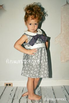 Girls Grey Dress Garden Party Dress with Bow and by FleurandDot, $78.00