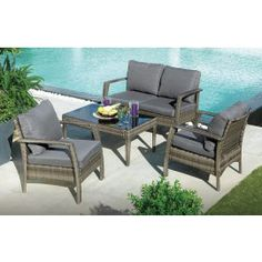 TAMPERE CHAT SET - This complete patio chat set includes polyrattan loveseat, 2 armchairs and coffee table with black glass top. Patio Design, House Design, Outdoor Furniture Sets, Outdoor Decor, Backyard Patio, Outdoor Living, Living Spaces, Home And Garden, Home Decor