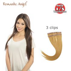 """Super Thin Invisible Seamless Tape Clip In Hair Extensions 100% Remy Human Hair #8/12/30 18/20"""" 1pcs 23g 3clips Free Shipping US $19.90"""