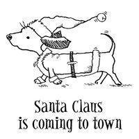 Weiner dog Christmas stamp