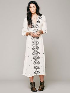 Free People Free People Embroidered Fable Dress, £0.00
