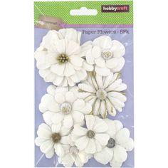 Hobbycraft White Ornate Paper Flowers 8 Pack | Hobbycraft