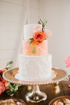 blush gold and white wedding cake