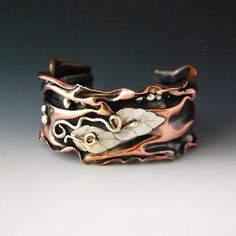 Copper and Silver Folded Cuff by cyndiesmithdesigns on Etsy, $125.00