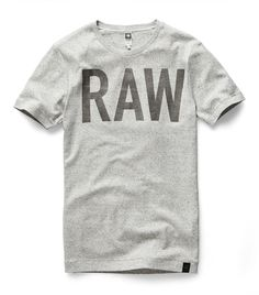 727ef58016 Gstar-raw · Round neck tee with a semi-transparent graphic logo. The  shoulder seam is visibly
