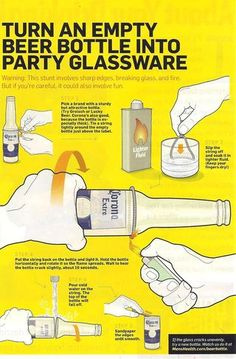 Beer bottle into party glassware