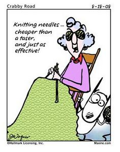 Maxine...Knitting needles...cheaper than a taser, and just as effective.