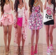 cute, donut, fashion, girly, outfit, outfits, pink, spring, summer ...