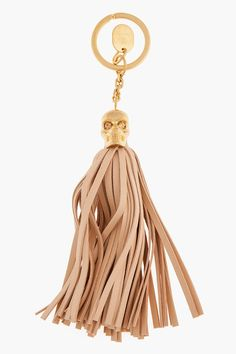 Alexander Mcqueen Dusty Rose And Gold Tassel Key Ring