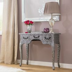 Hallway Console Table Metal Floral Furniture Rectangle Black Hall Three Drawers