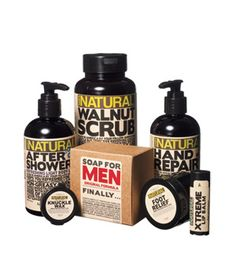 "Men Gift Idea: Working Man's Hygiene Kit. Even a manly man likes a little spoiling, as long as it's ""his"" and not ""hers."" Hook a brother up."