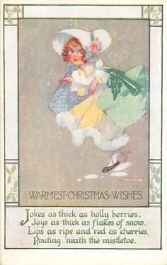 WARMEST CHRISTMAS WISHES  girl & large hatboxes - Art by AGNES RICHARDSON