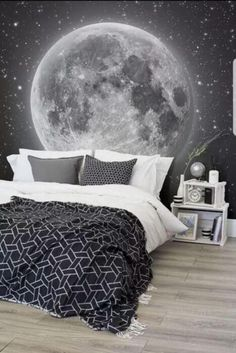 Whats more magical than this space wallpaper mural? This mesmerising view of the moon and countless stars transport your bedroom to dreamy heights. Pair with monochrome bedding for a sophisticated space themed bedroom. - Rooms Inn The House Dream Bedroom, Kids Bedroom, Bedroom Black, Magical Bedroom, Star Bedroom, Monochrome Bedroom, Boy Bedrooms, Bedroom Themes, Bedroom Decor