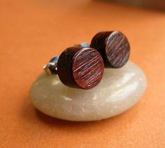 Mens Stud Earrings, 8 mm Round Wooden Earrings in Rosewood