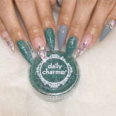 Beautiful nails by @sabrina_ils featuring our Merdaid's Tears glitter dust.  Shop for our #Glitteradust collection at DailyCharme.com!