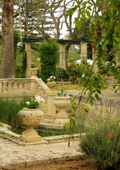 View of the Sunken Garden at Villa Bologna, Malta
