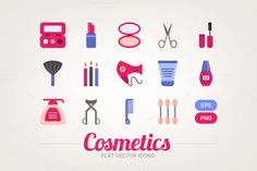 Flat cosmetic icons by miumiu on @creativemarket