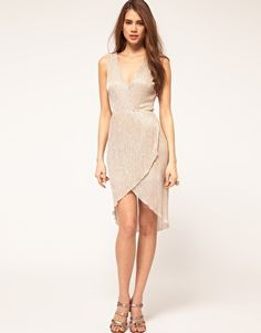 TFNC Metallic Pleated Cross Over Midi Dress from Asos. $40.29