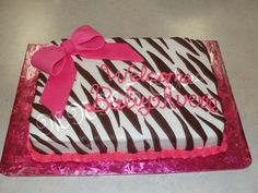 Pink Bow & Brown zebra baby shower cake by Melissa Sloate, via Flickr