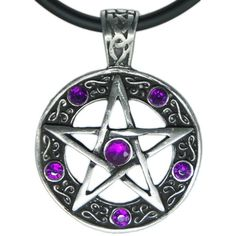 """Star Pentagram Pentacle Pewter Pendant 18"""" Pvc Rubber Necklace ($9.99) ❤ liked on Polyvore featuring jewelry, necklaces, pentagram jewelry, star jewelry, star pendant, pendants & necklaces and pentagram pendant"""