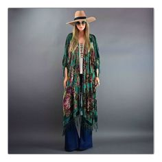 """Jaw dropping beauty!  Truly divine caftan!  Stunning quality velvet burnout really creates an amazing stained glass window effect. A most gorgeous english rose pattern in front and back.  Delicate hand beading throughout adds extra magic.  Finished off with iridescent beaded fishnet tassels.  A truly timeless and effortless piece to add to your wardrobe.Available in Colors:Emerald GreenVioletOne SizeLength (not including tassels) is 41"""" Full Width 41"""" ..."""