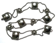 vintage Swagged Chain and Shield, 1930s, Silver