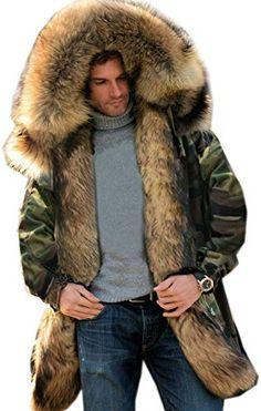 Lemosery Mens Fashion Stand Collar Faux Fur Hood Zipper Cashmere Long Down Coat Warm Winter Outwear Cotton Coat