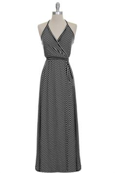 Ultra flattering halter wrap maxi dress. I love the neckline!