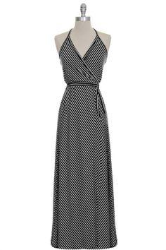 Ultra flattering halter wrap maxi dress. I love the neckline!