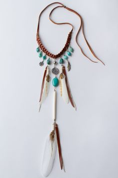 "Love it, with brown feathers please! Pocahontas Princessette Necklace – Turquoise and Tan Leather by ""Spell and the Gypsy Collection""."