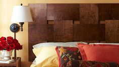 Learn how to build a woven headboard and find other headboard ideas. You don't have to be a skilled woodworker. These DIY wood headboard plans are easy! Diy Bett, Diy Headboards, Headboard Ideas, Plywood Headboard, Home Bedroom, Master Bedroom, Bedrooms, Furniture Projects, Interior Design Living Room