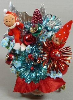 Christmas Corsage Vintage Elves Retro Indent Mercury Glass Aqua