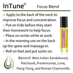 DoTerra oils and InTune Therapeutic Grade Essential Oils, Doterra Essential Oils, Essential Oil Diffuser, Essential Oil Blends, In Tune Doterra, Doterra Oils, Doterra Blends, Diffuser Blends, Stay Focused
