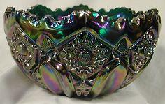 L E  SMITH RUFFLED EDGE HOBNAIL CARNIVAL GLASS BOWL. Beautiful gift from my husband.