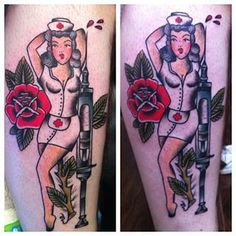 And a sexy nurse today. #nurse #tattoo #syringe #traditional #nofilter