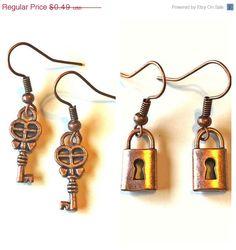Brass Key or Lock Earrings Charms Dangle Pierced by NatureAngels