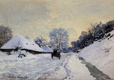 §§§ * A Cart on the Snow Covered Road with Saint-Simeon Farm ~ Claude Monet 1865