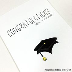 Funny Graduation Card - Congratulations You Survived! - Instant Digital Download Print by PrintableMatter, $5.00